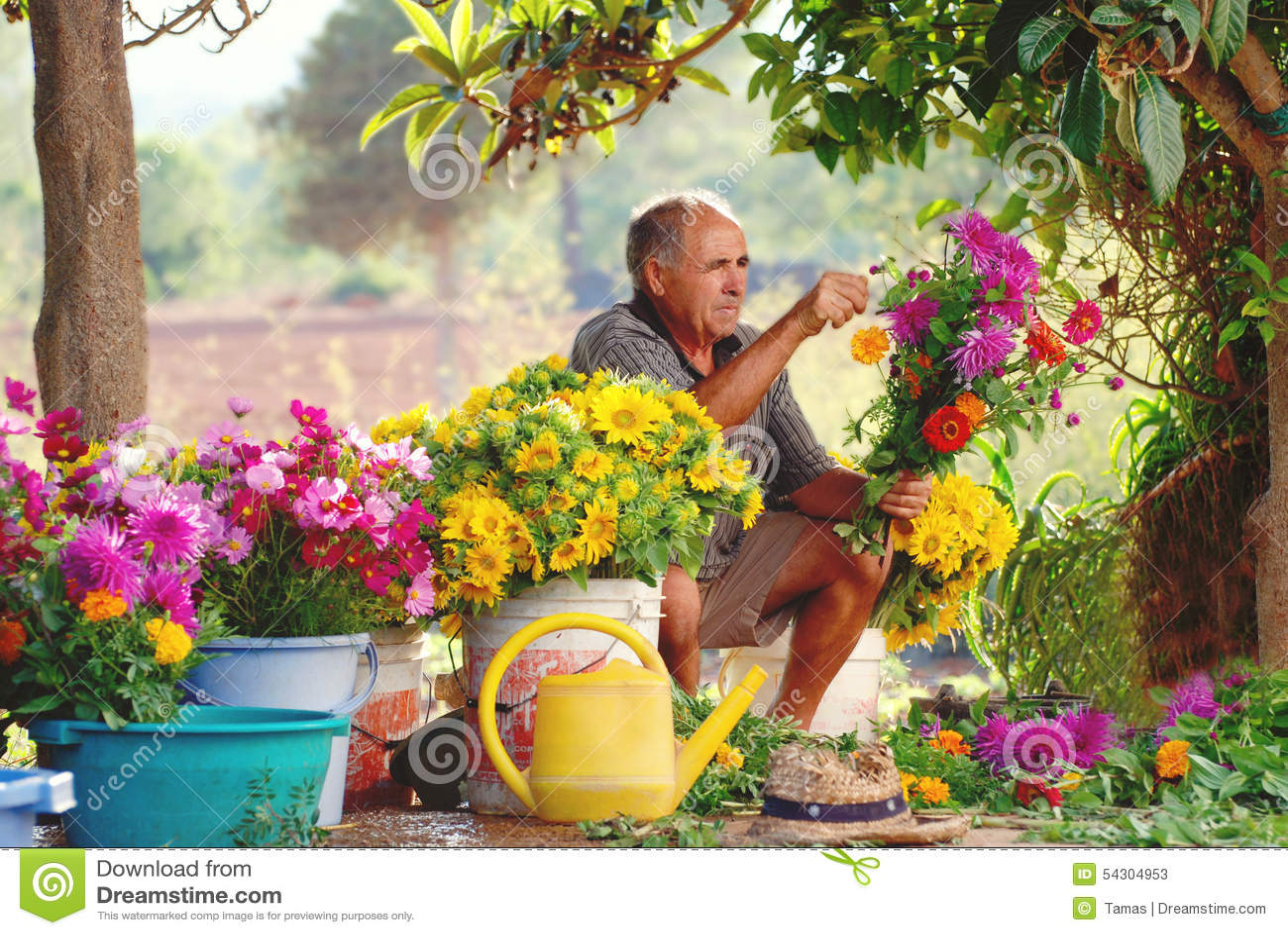 Old Spanish Farmer Making Country Flower Arrangements Stock Image