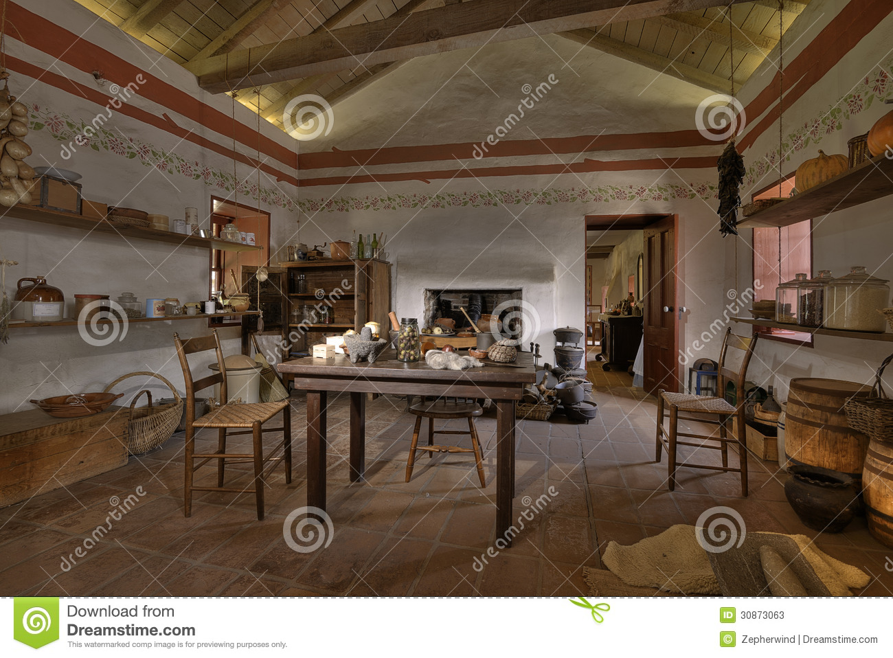 Old spanish home stock photos image 30873063 for Southern california interiors