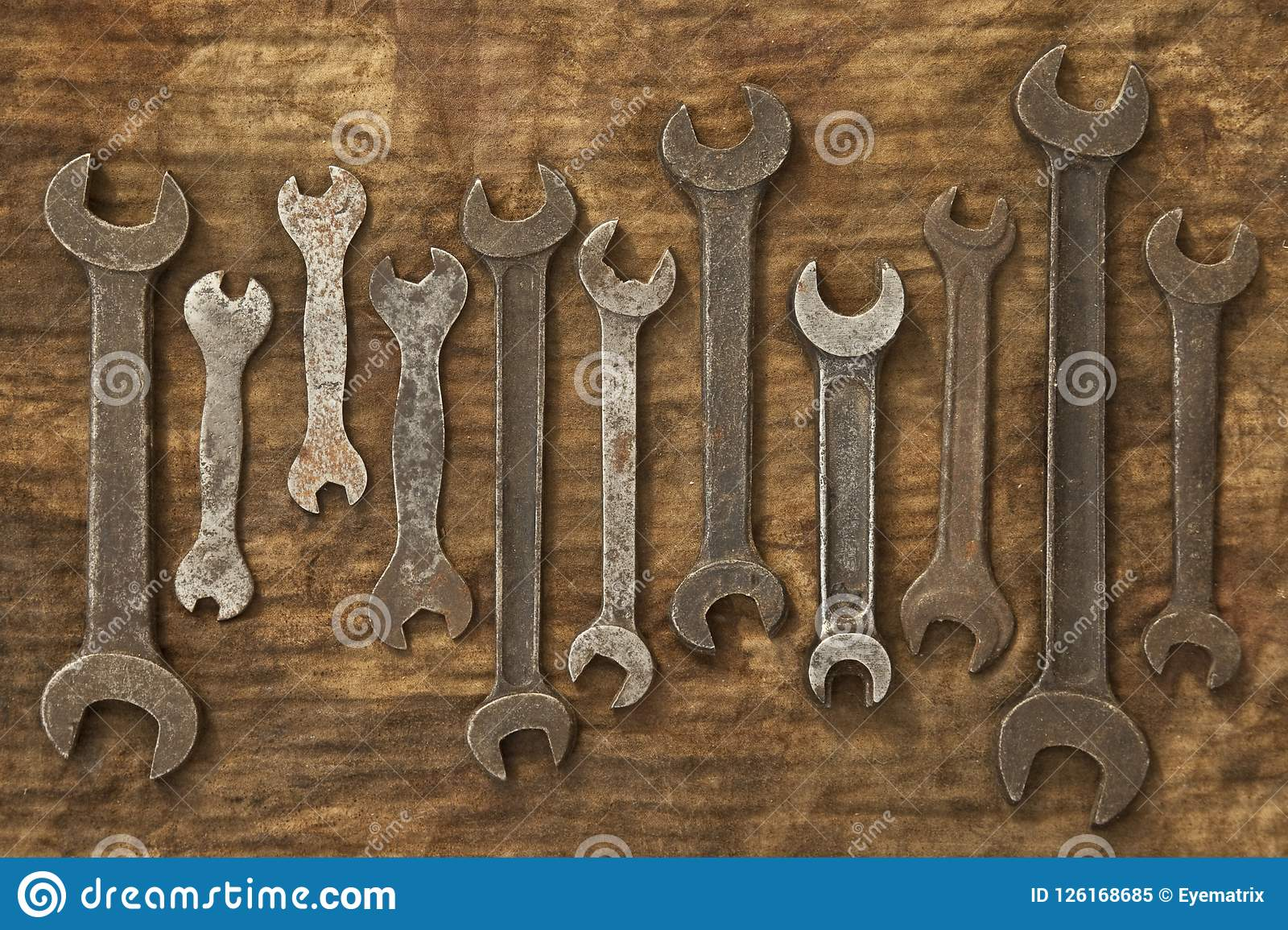 53cfcf174fcd6b Old Spanners On Oily Rag stock image. Image of dirty - 126168685