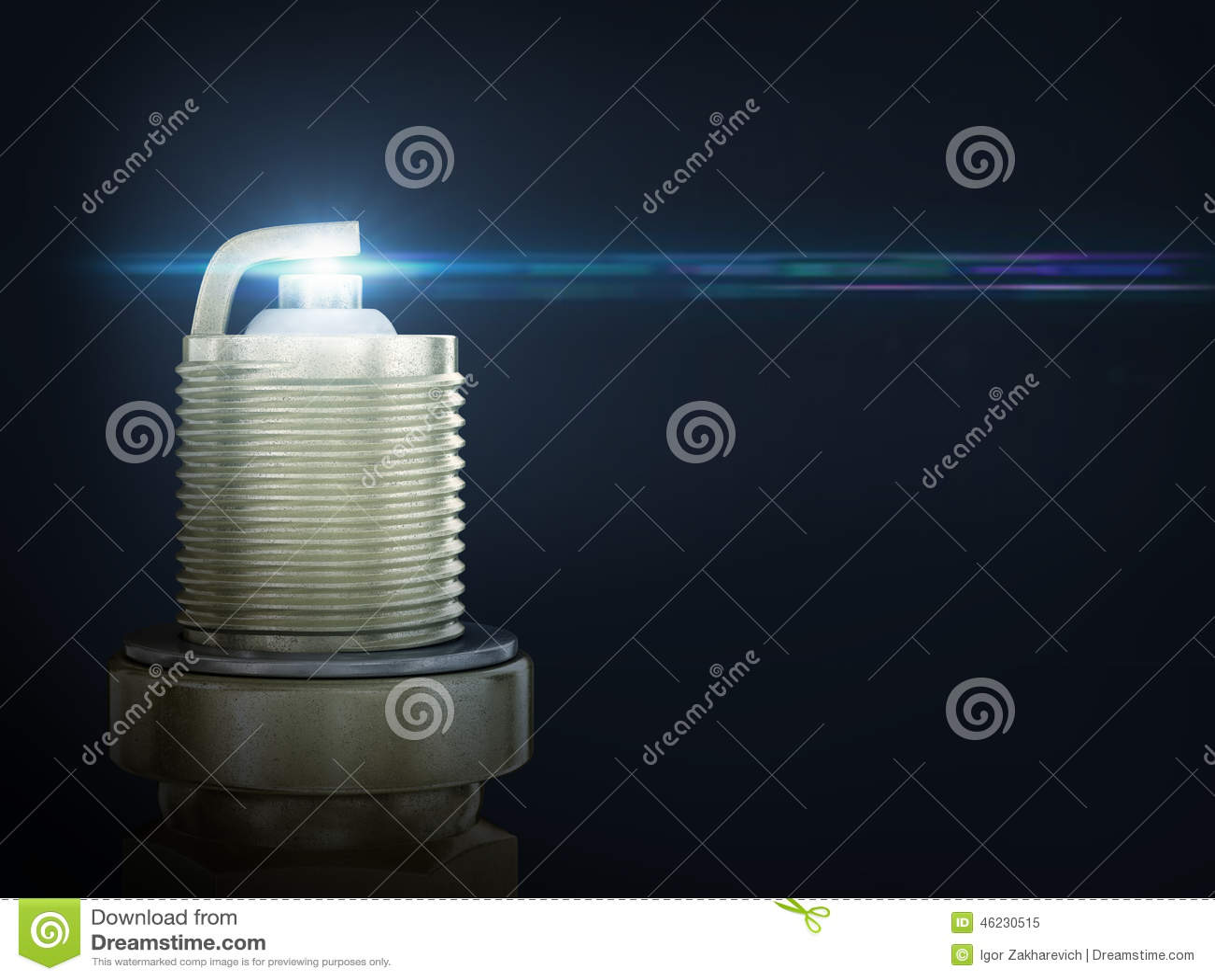 Old spark plug isolated