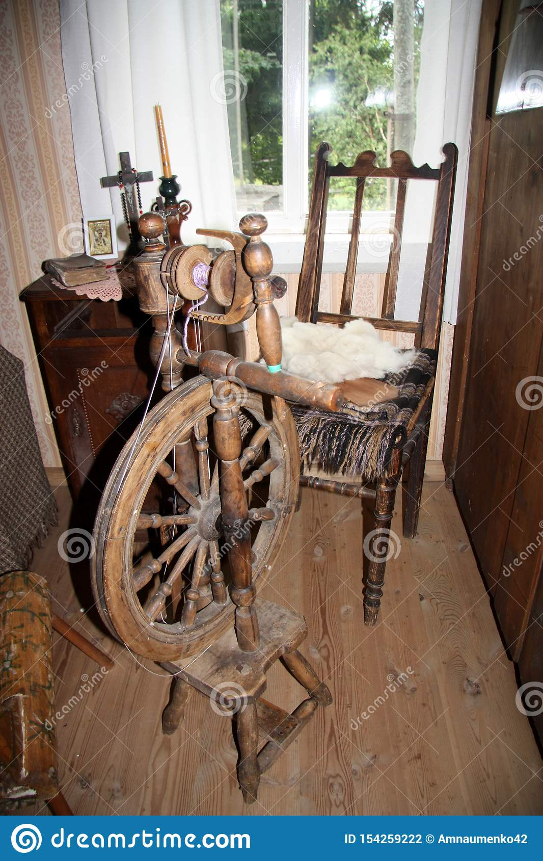 Old Spinning Wheel Museum Exhibit In Latvia Stock Photo Image Of Wooden Latvia 154259222