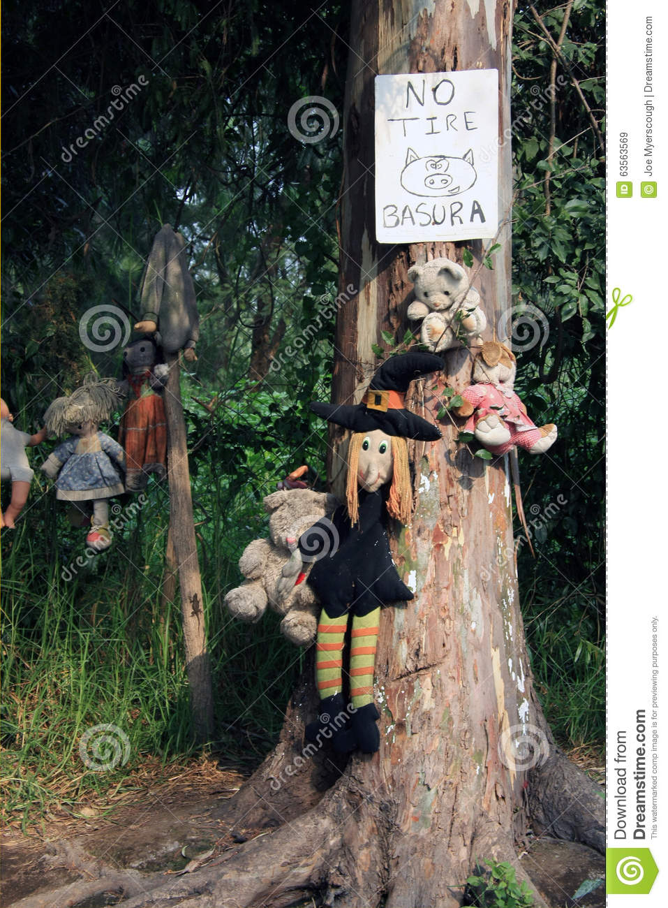 Old Spooky Dolls Hanging In A Tree In Mexico City Stock