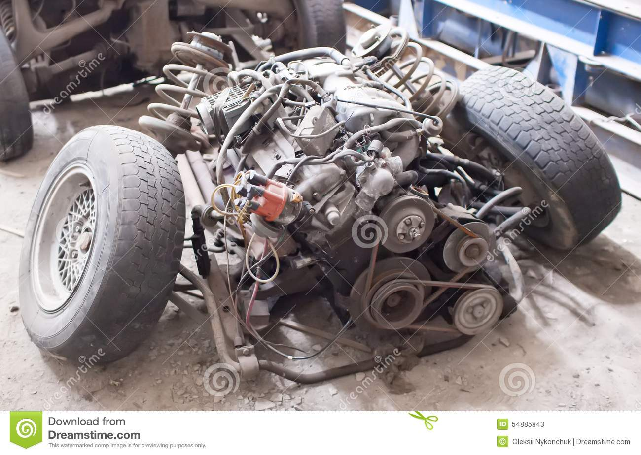 Old Sports 6-cylinder Car Engine Stock Image - Image of auto, metal ...