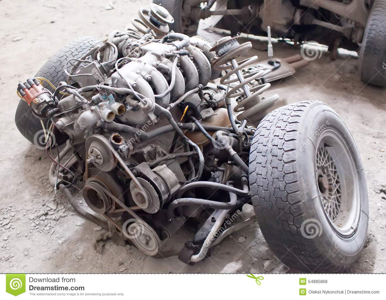 Old Sports 6-cylinder Car Engine Stock Photo - Image of parts, auto ...