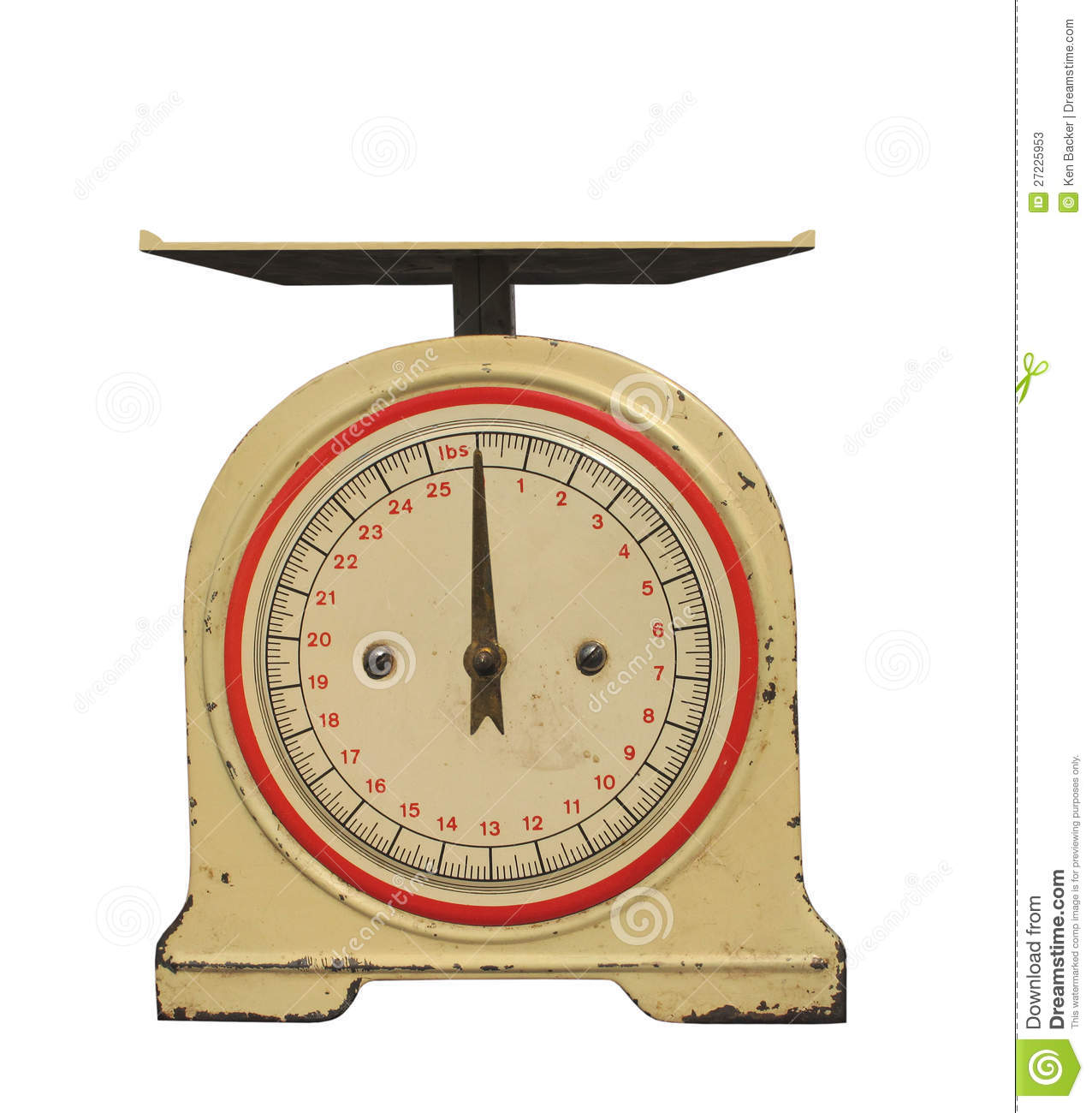 Old 25 pound capacity spring weight scale with front dial, needle ...