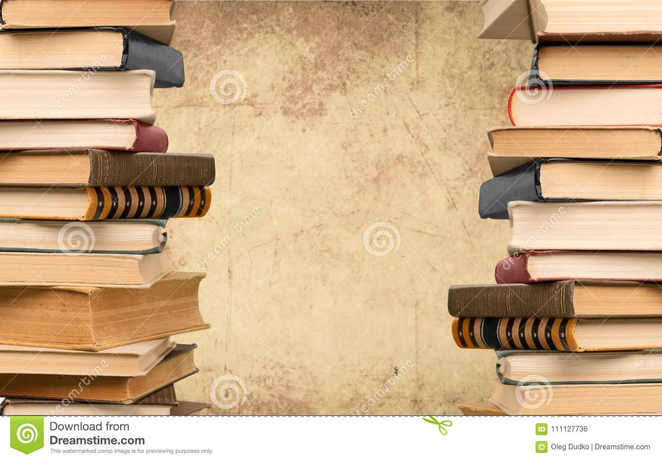 Old Stacked Books On Paper Background Stock Photo - Image of ancient ...