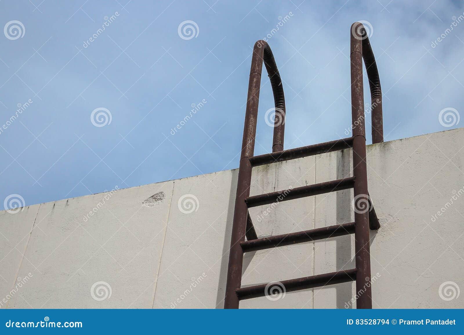 Water Tank Stairs : Old stair vertical industrial metal rusted to water tank