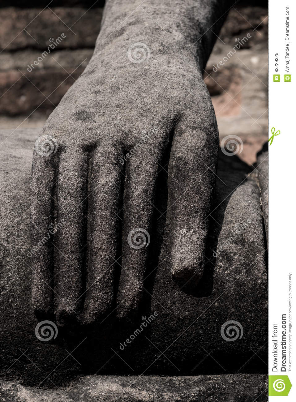 Old statue hand of buddha image