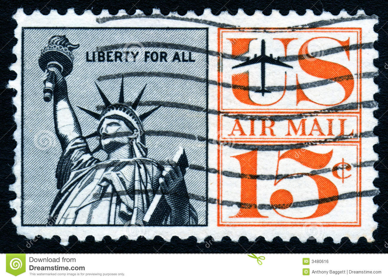 Old Statue Of Liberty Stamp Royalty Free Stock Image