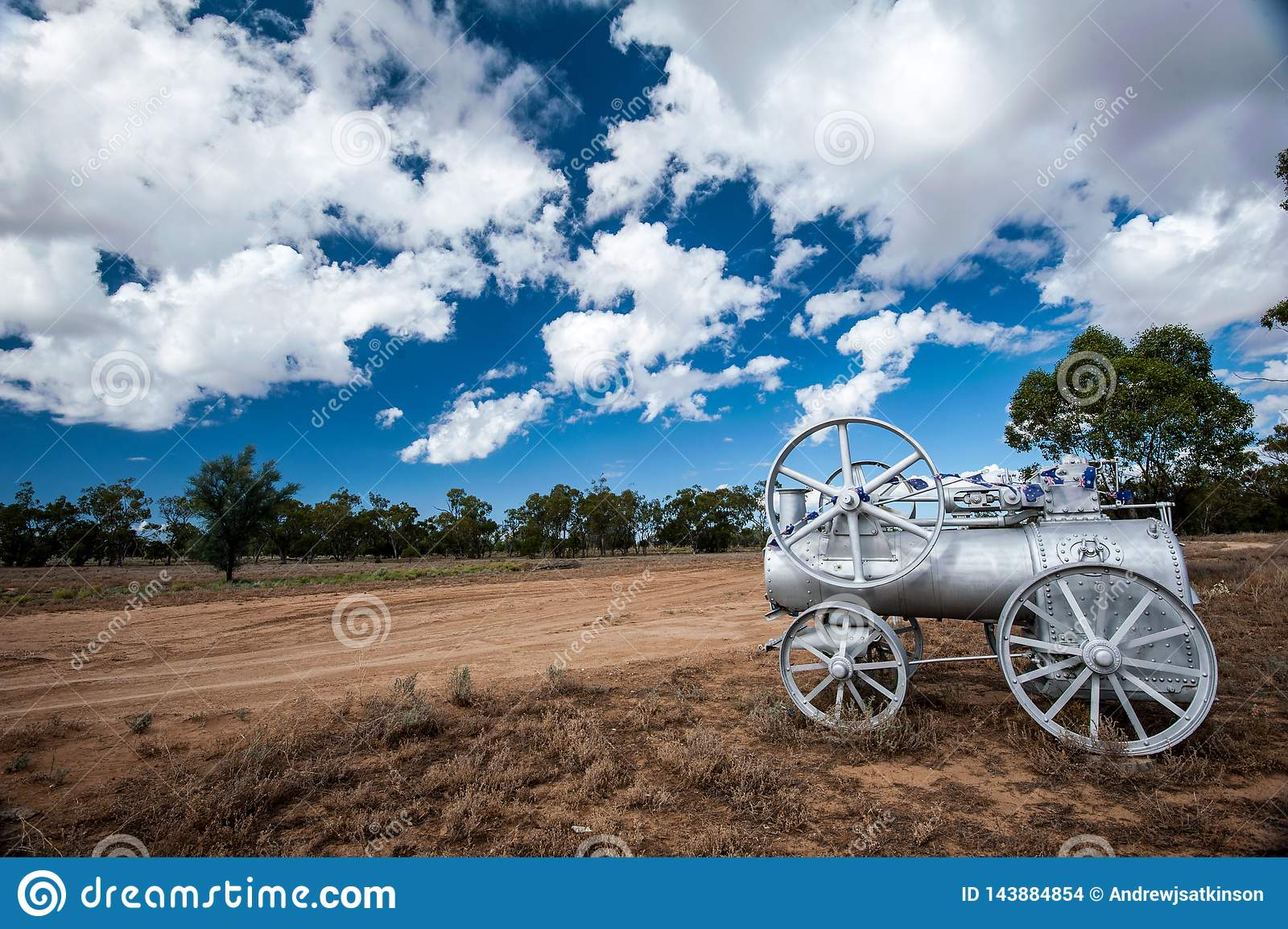 Steam engine at the entrance to an outback sheep and cattle station in Australia