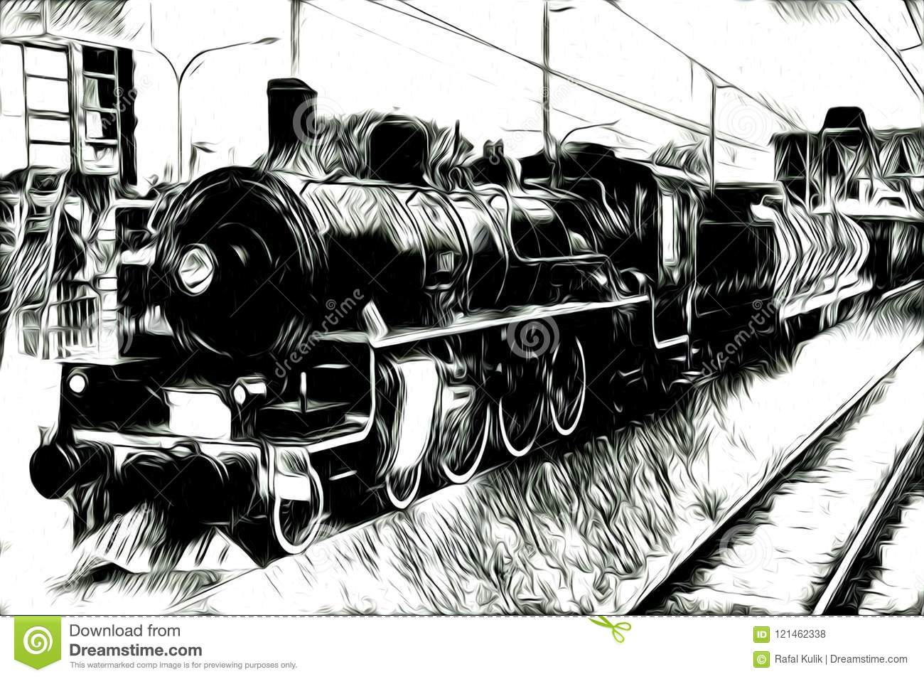 Old Steam Locomotive Engine Retro Vintage Abstract Drawing