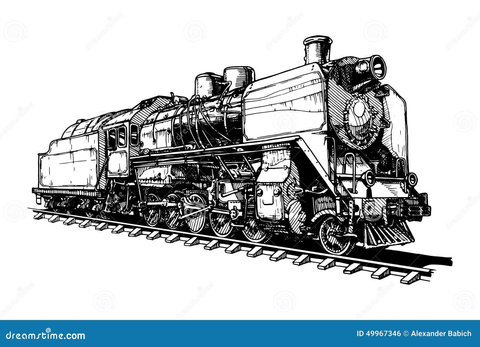 Old Steam Locomotive Stock Vector - Image: 49967346