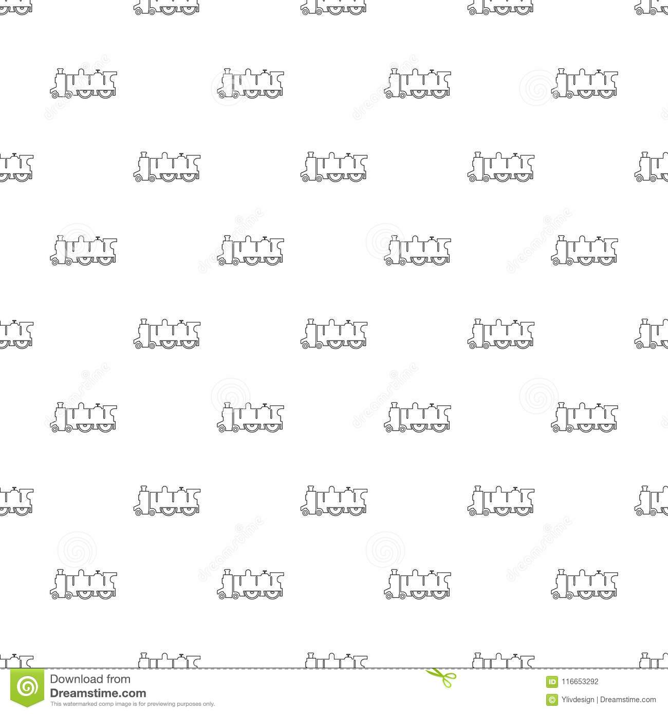 Old Steam Locomotive Pattern Vector Seamless Stock Vector