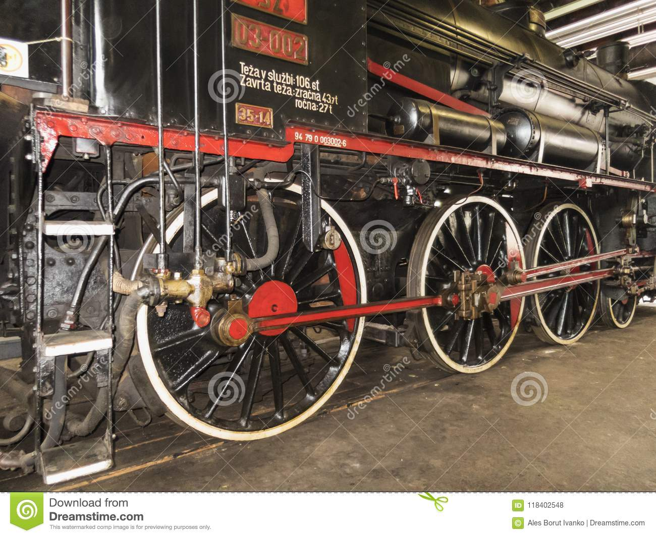 Old steam locomotive railway machine