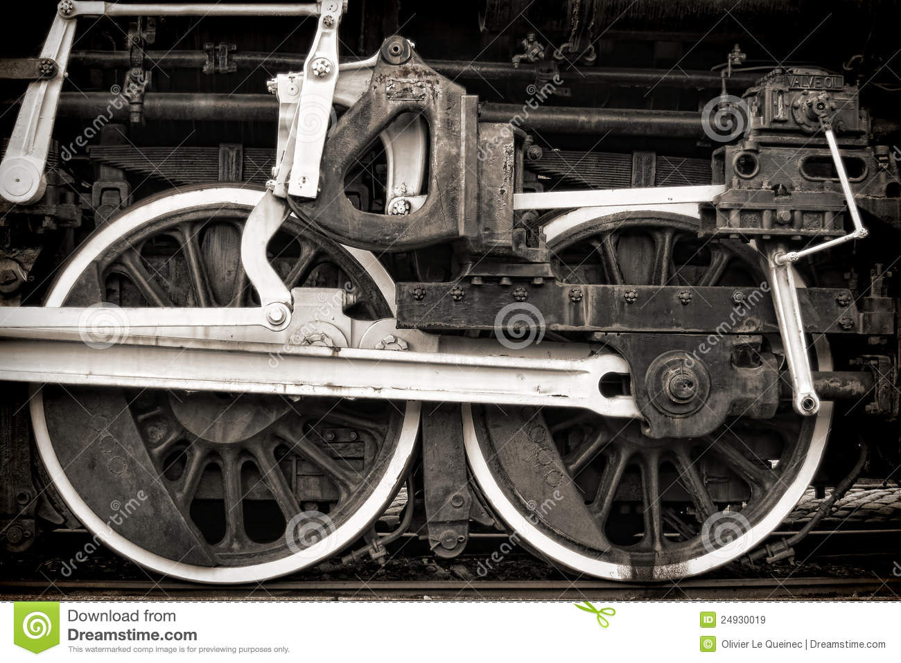Old Steam Locomotive Vintage Drive Wheels And Rods Stock Image ...