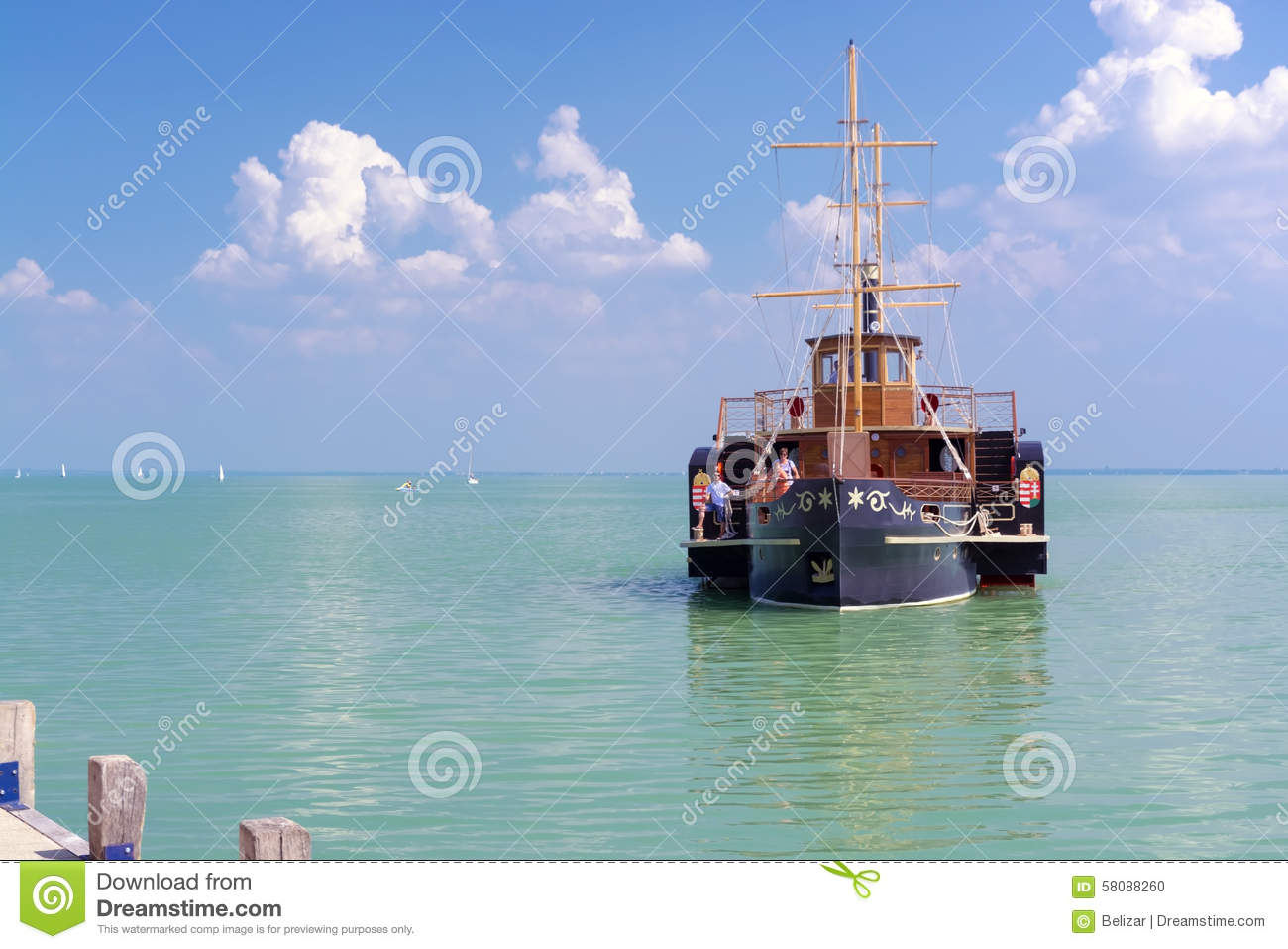 Balatonfured Hungary  City pictures : BALATONFURED, HUNGARY AUGUST 4. 2015 the old steamship Kisfaludy ...