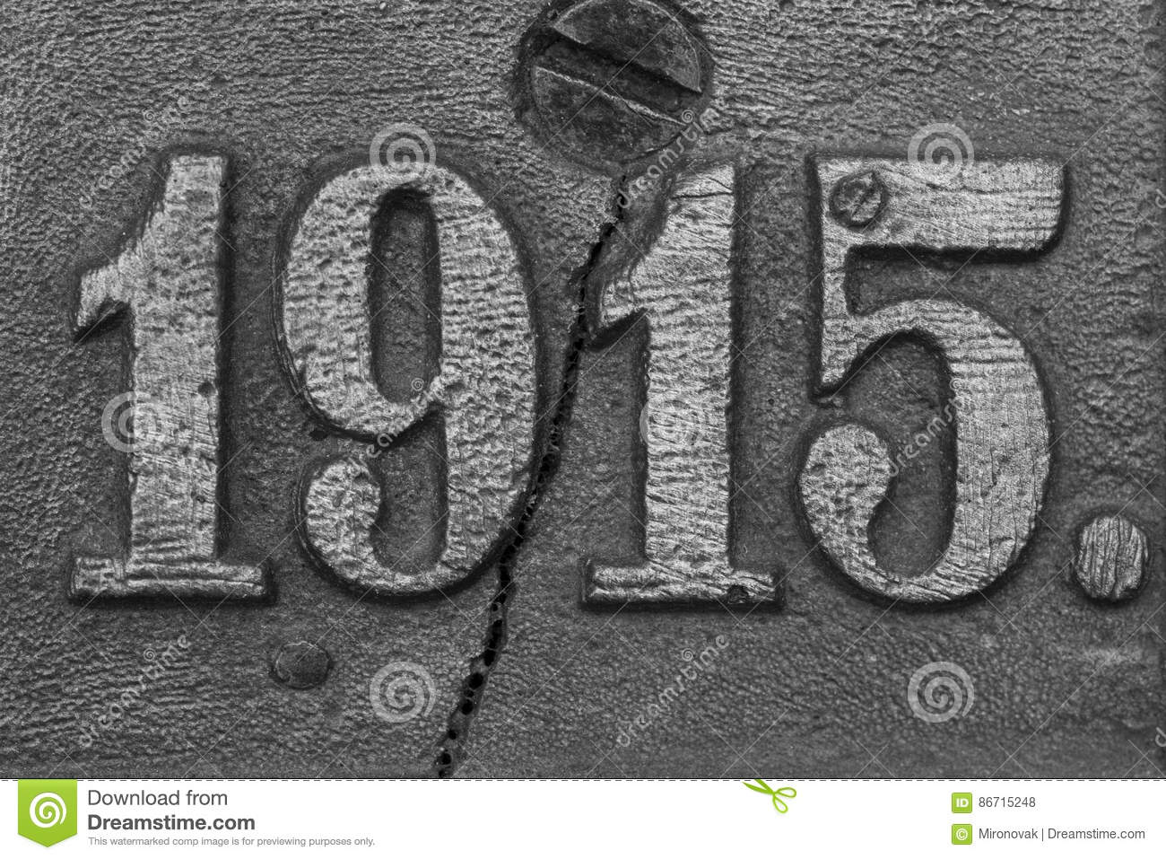 Old Steel Nameplate with 1915 Number Stock Photo - Image of rust ...