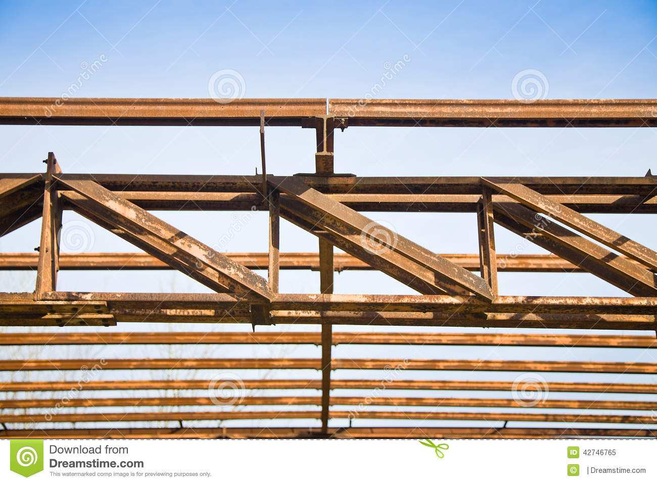 Steel Framed Factories : Old steel structure stock photo image
