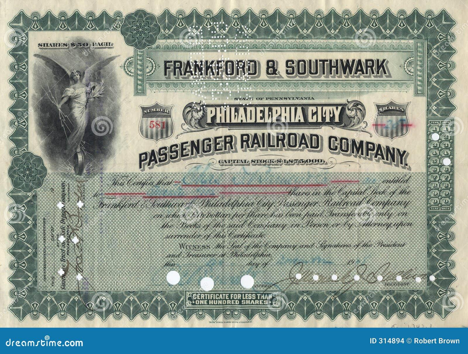 Old Stock Certificate 3 Stock Photo Image Of Philadelphia 314894