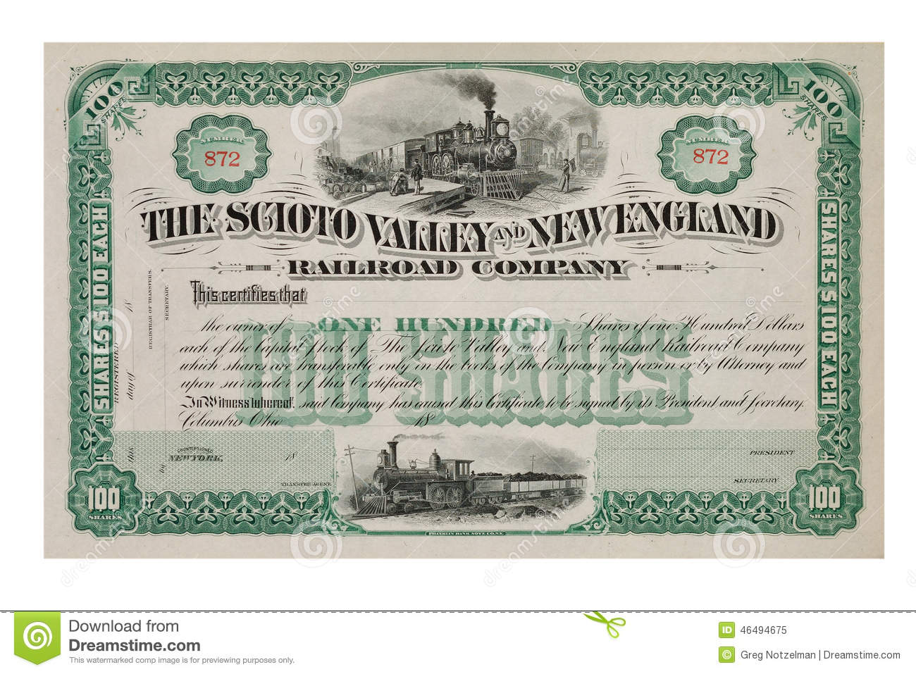 Old Stock Certificate From The 1800s Editorial Image Image Of