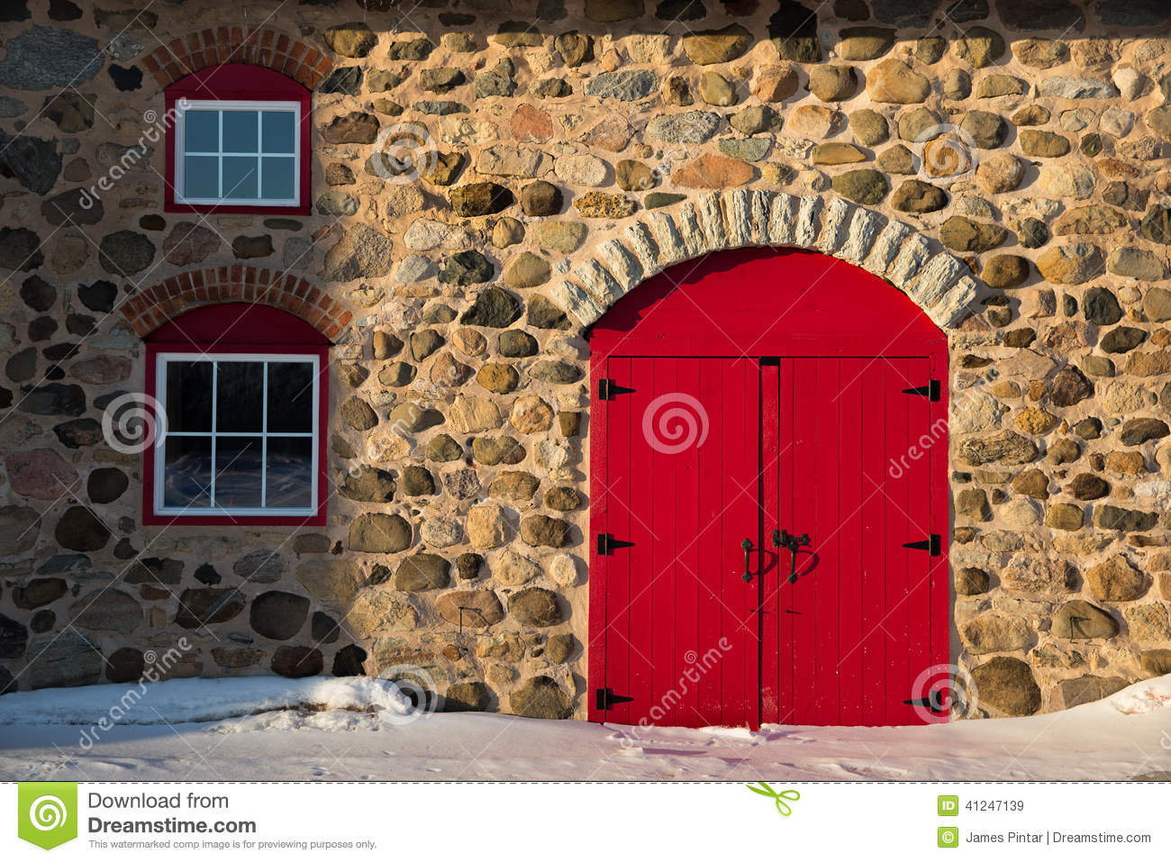 Royalty Free Stock Photo. Download Old Stone Barn With Bright Red Door ...