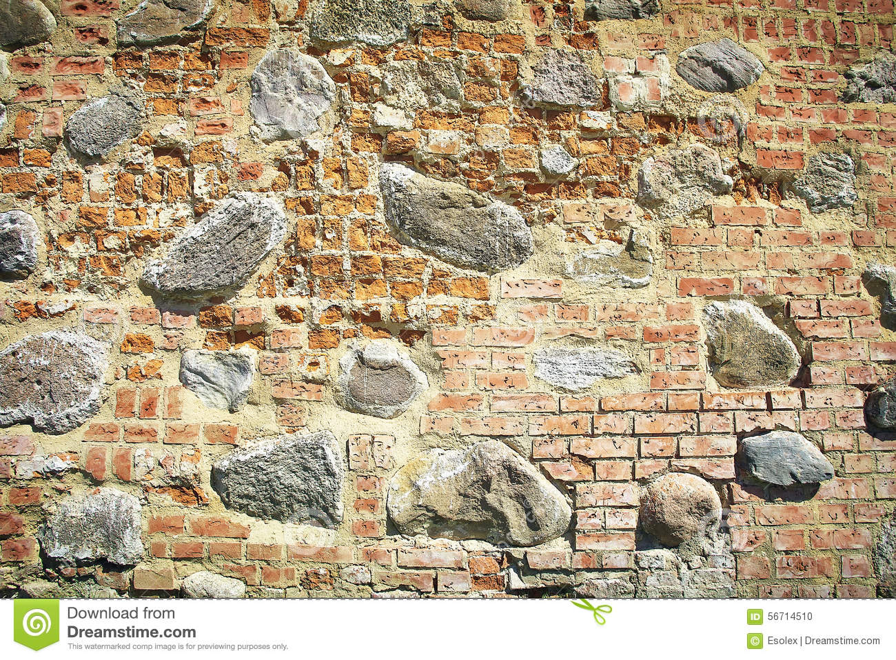 Old stone and brick wall of castle stock photo image for Stone and brick