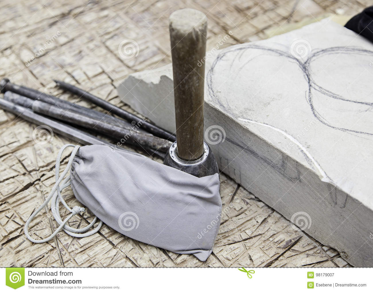 Old stone carving tools in traditional way stock image image of