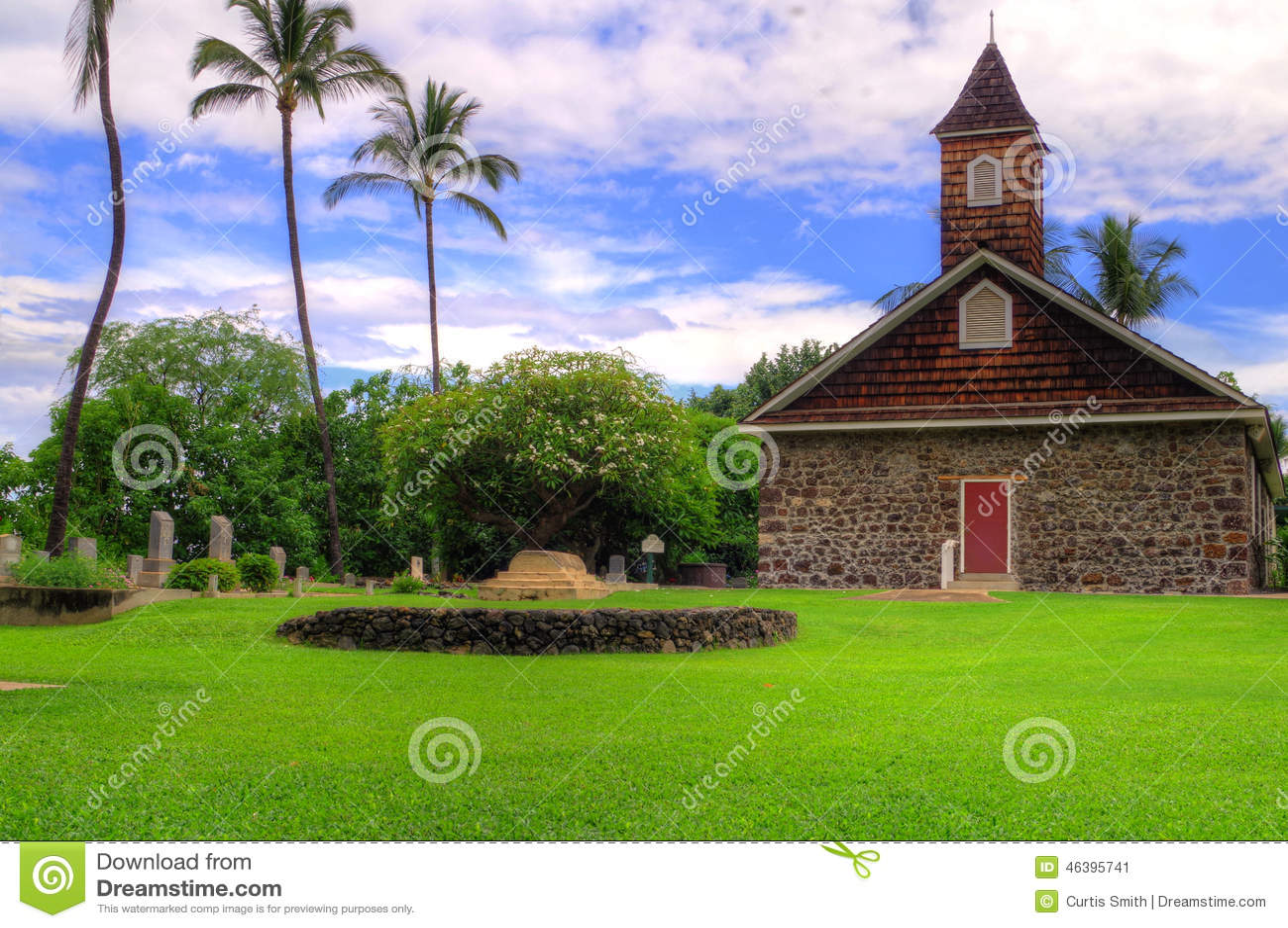 Old stone church in Maui, Hawaii
