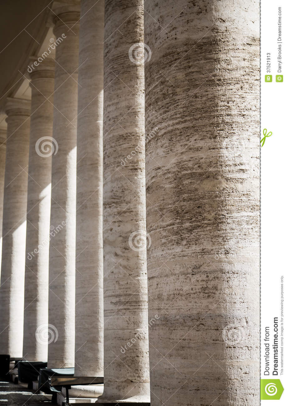 Old Stone Pillars : Old stone columns in vatican stock photos image