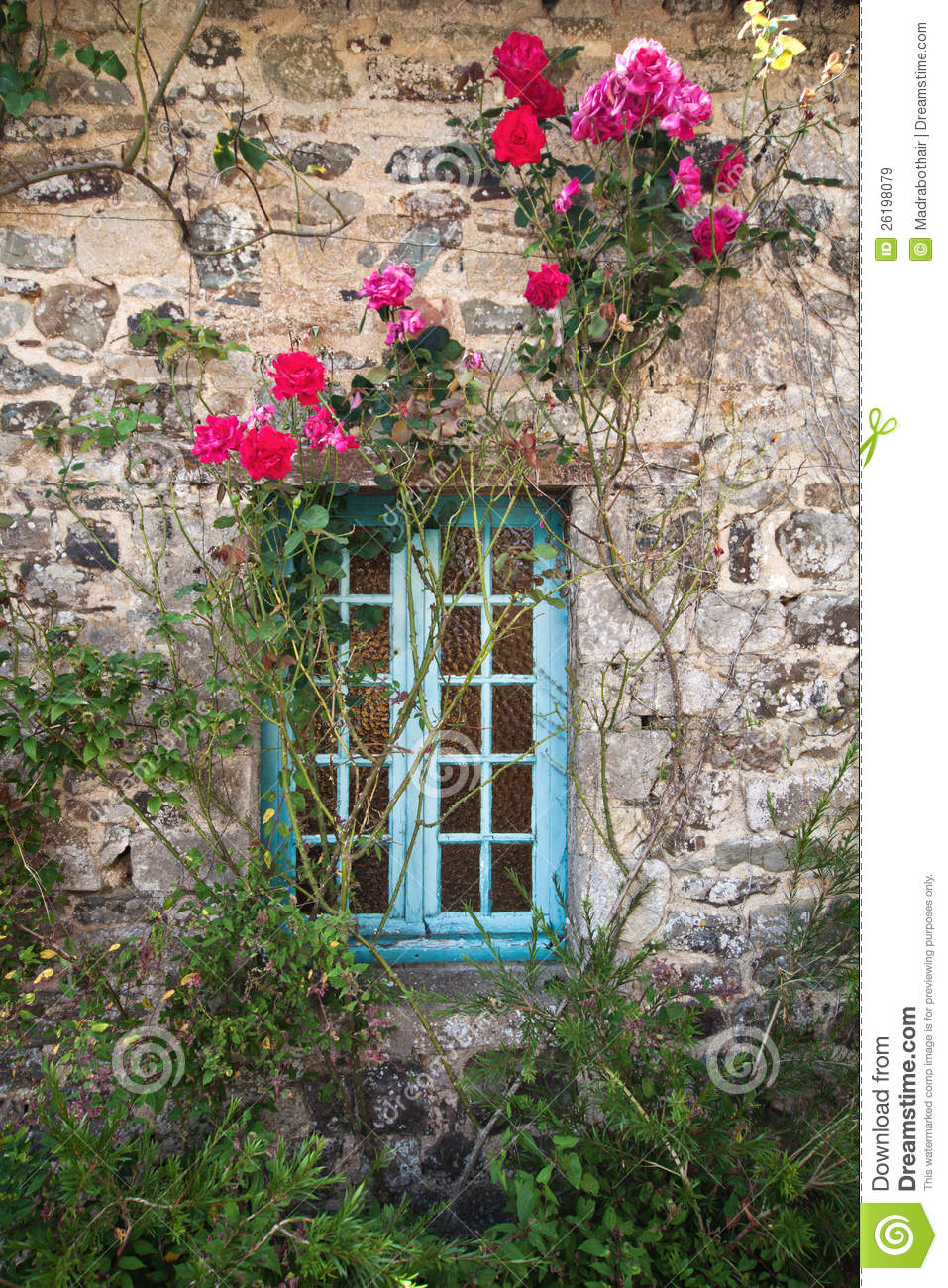 More similar stock images of ` Old stone cottage with climbing roses `