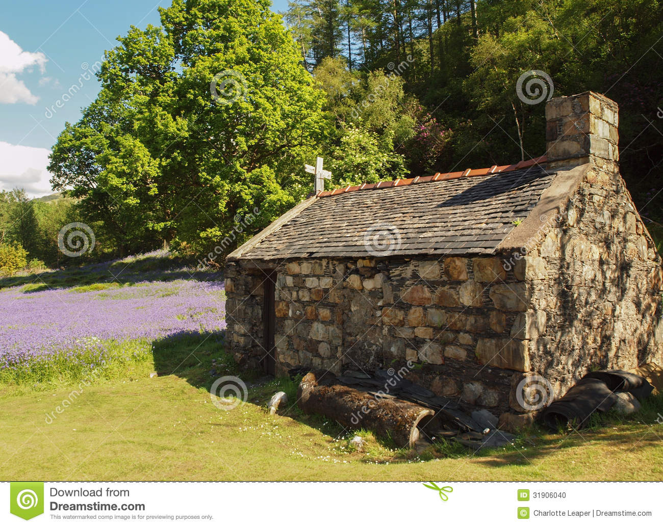 Old Stone Cottage Outhouse In Field
