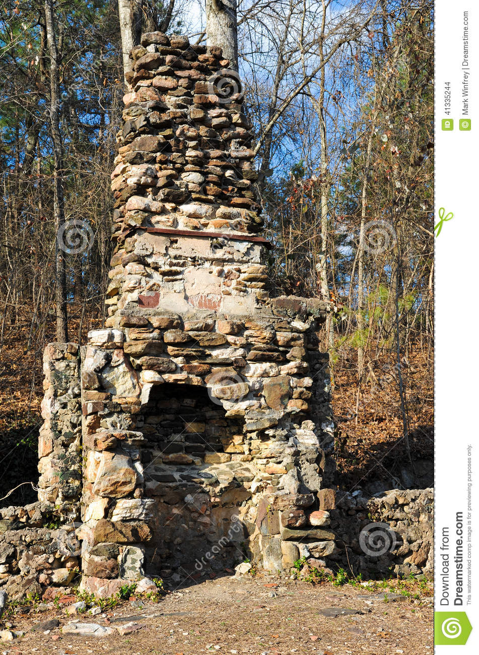 Old Stone Fireplace Stock Photo Image 41335244