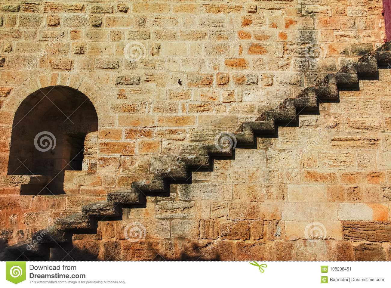 Old Stone Fortress Wall With Stone Stair, Background Stock Image ...