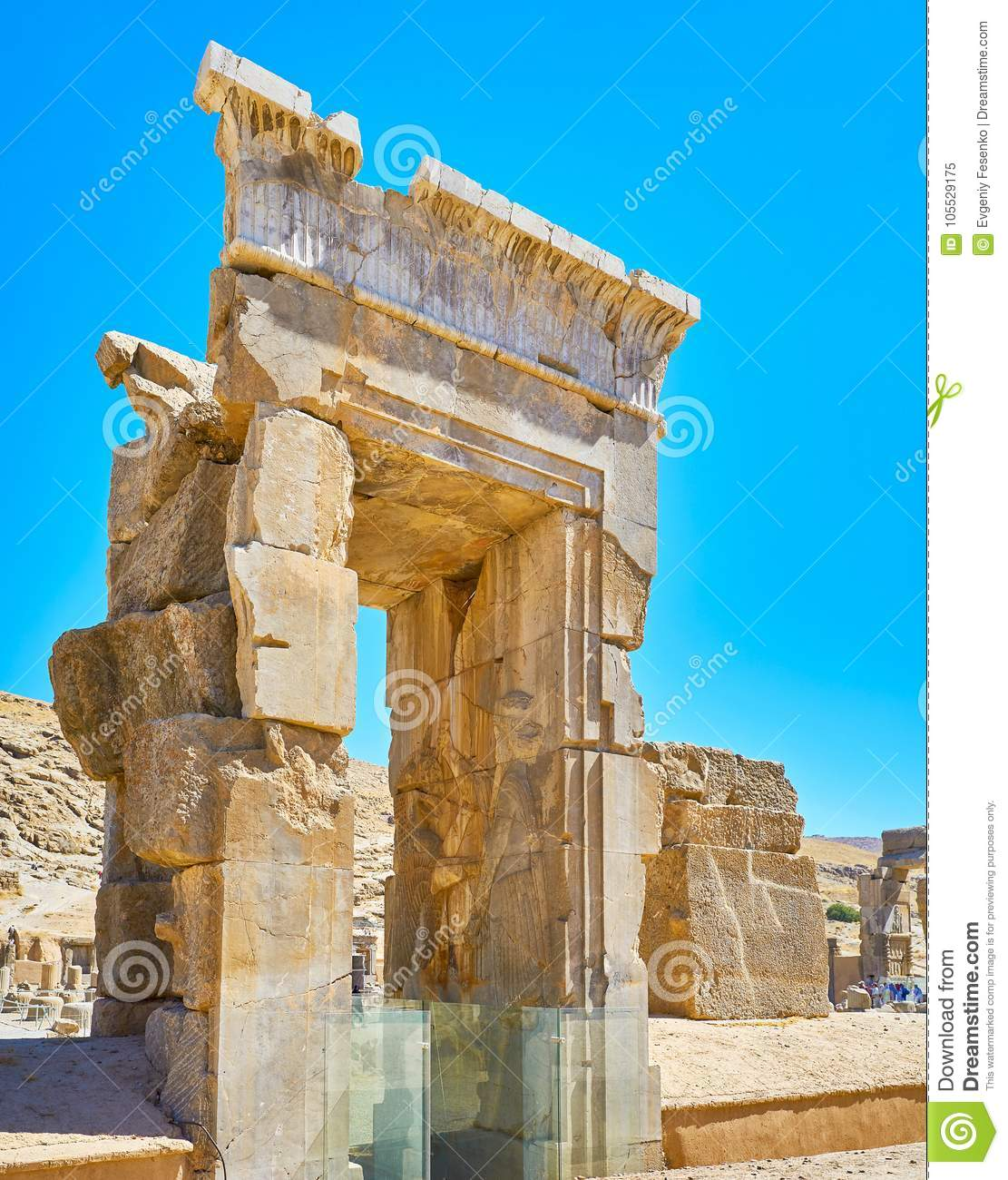 Remains Of Stone Gate Persepolis Iran Stock Image Image Of Fortress Building 105529175