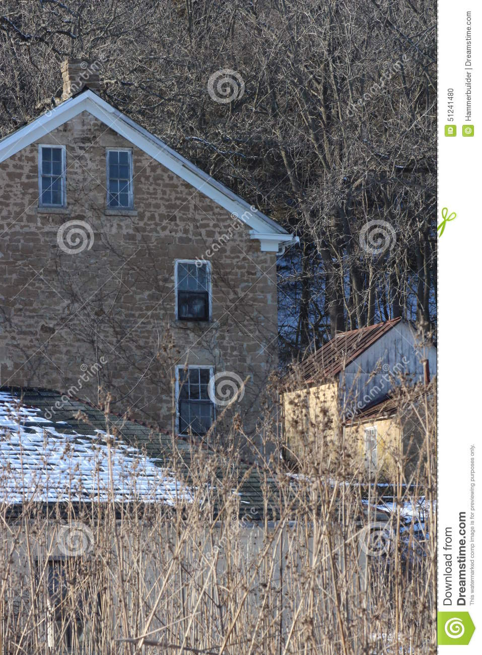 Old stone house winter midwest stock photo image 51241480 for Building a house in wisconsin