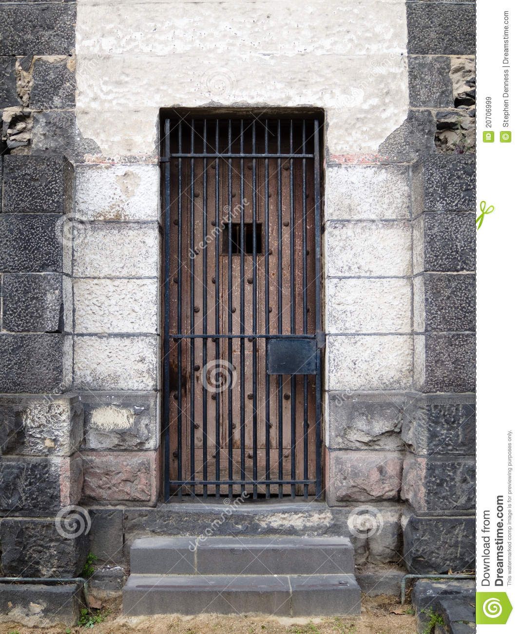 Old Stone Jail Wooden Door With Iron Bars Royalty Free Stock Images ...