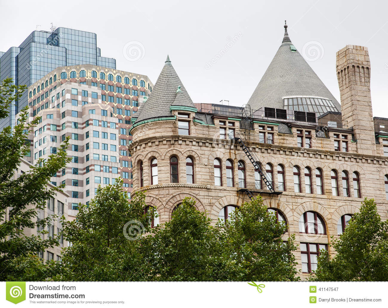 Old Stone And Modern Buildings In Boston Stock Photo Image