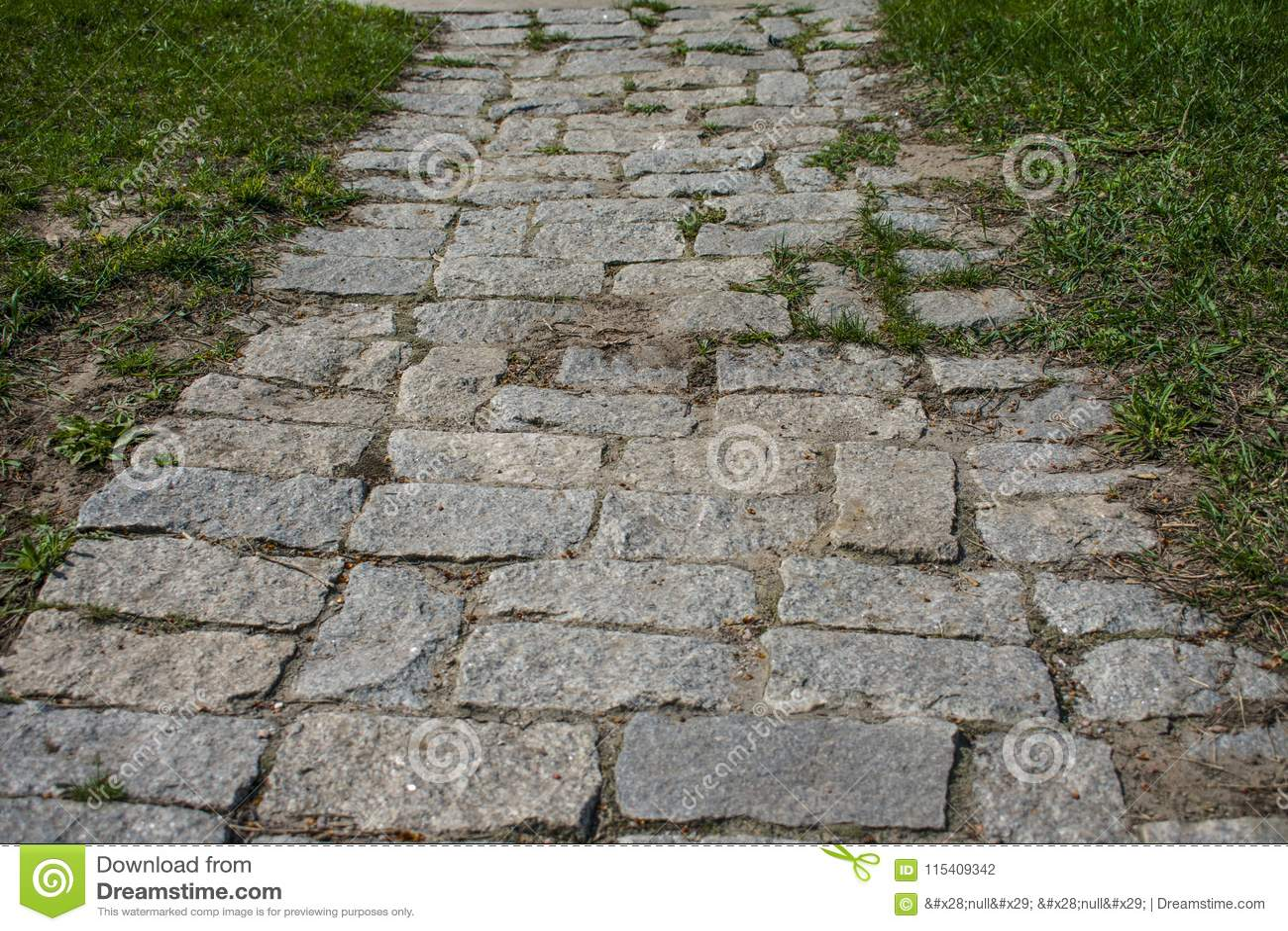 Old stone path on the island of Khortytsya