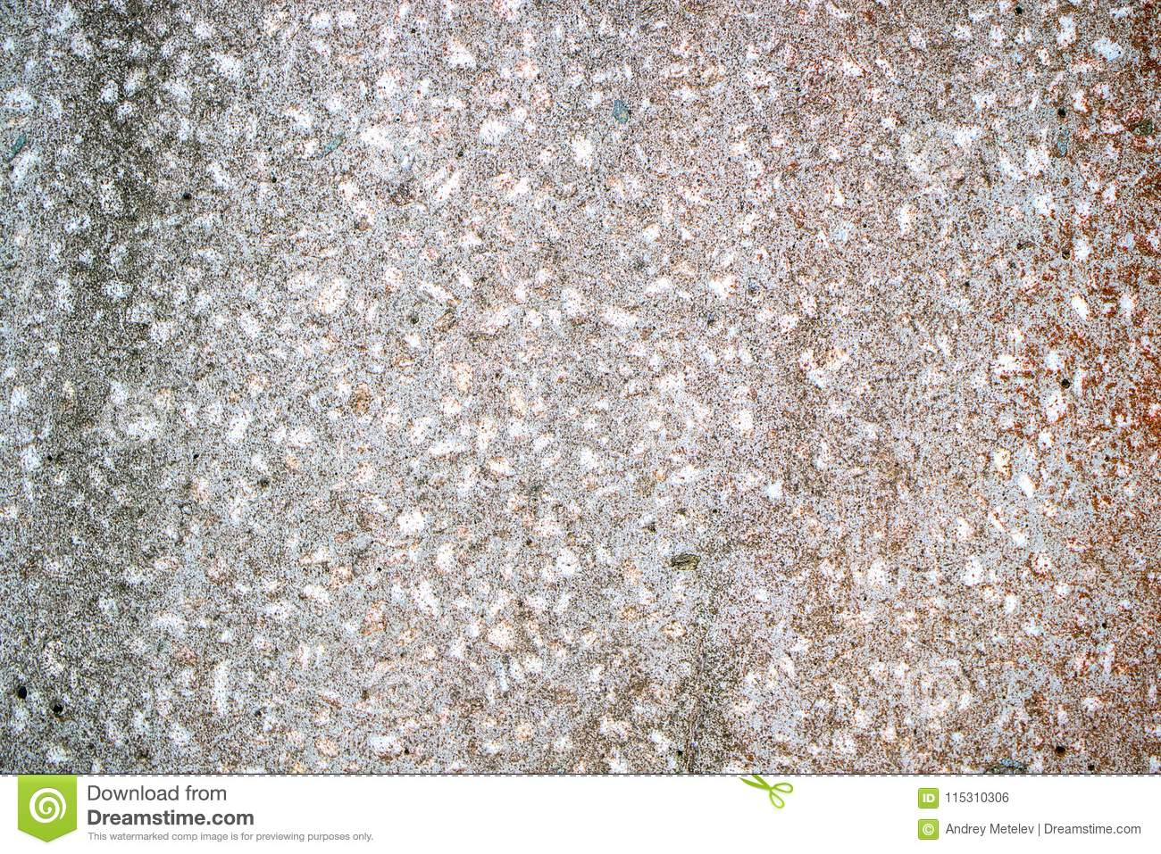 An Old Stone Slab With Small Stones Of Granite, Gray With