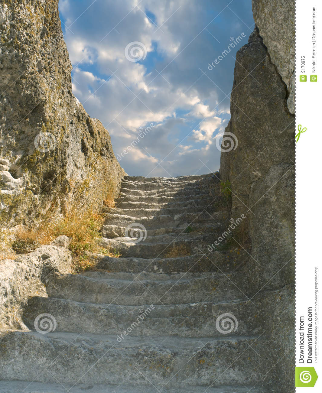 Old stone staircase to sky