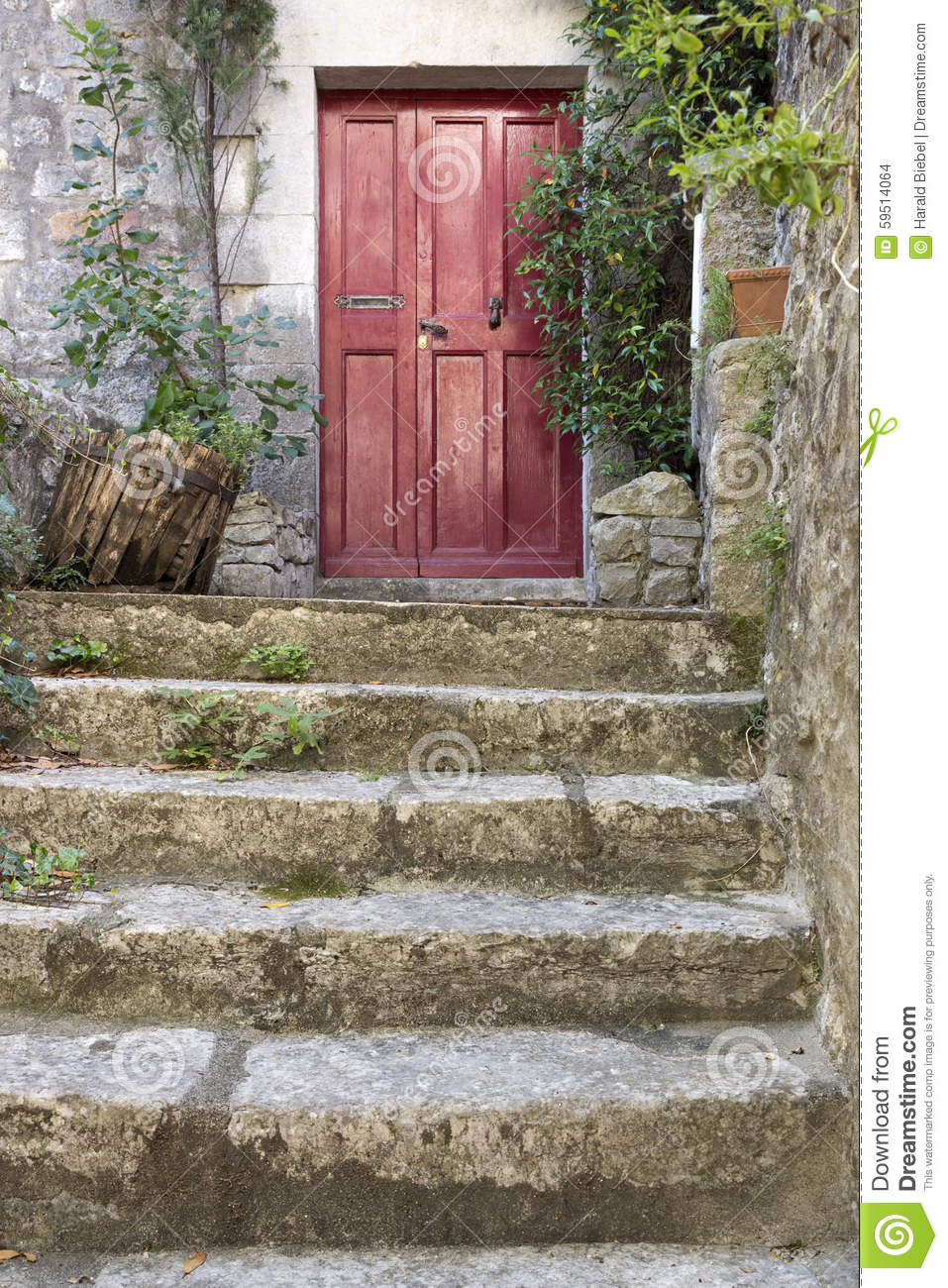 Old Stone Stairs With Entrance Door Stock Photo