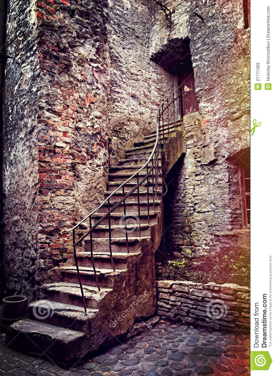 Old Stone Stairs And House Stock Image Image Of