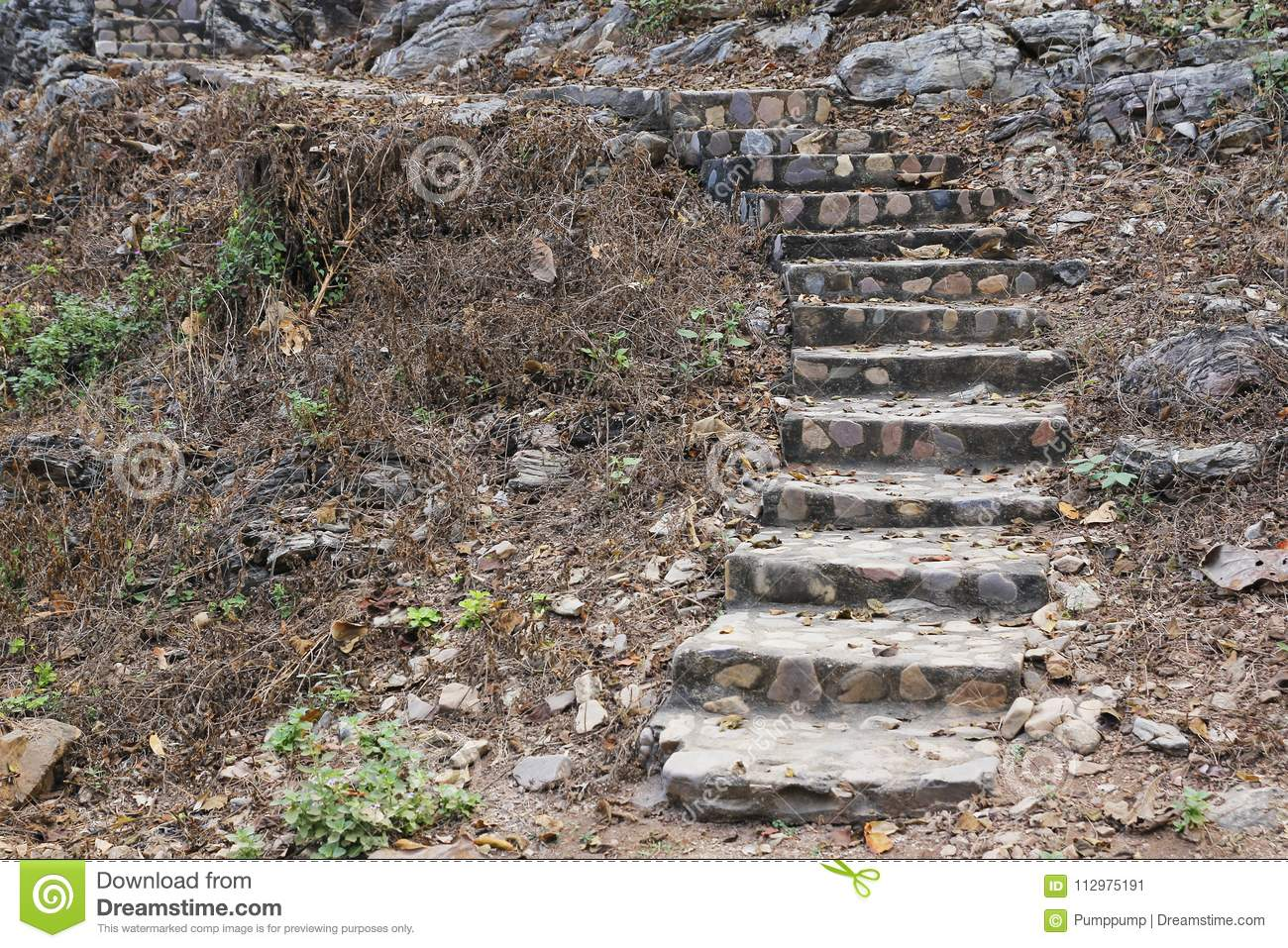 Old stone stairs up hill
