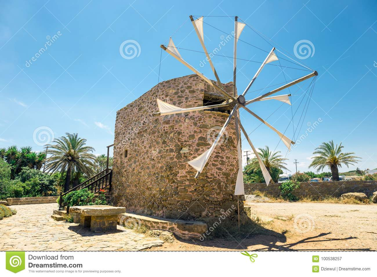 Old stone windmill near the monastery Toplou, Crete