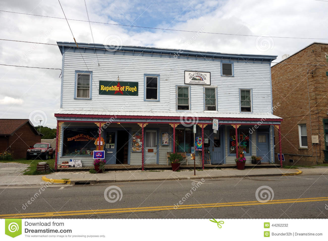 b8c64a56897 Old Stores In Downtown Floyd Editorial Photography - Image of glass ...