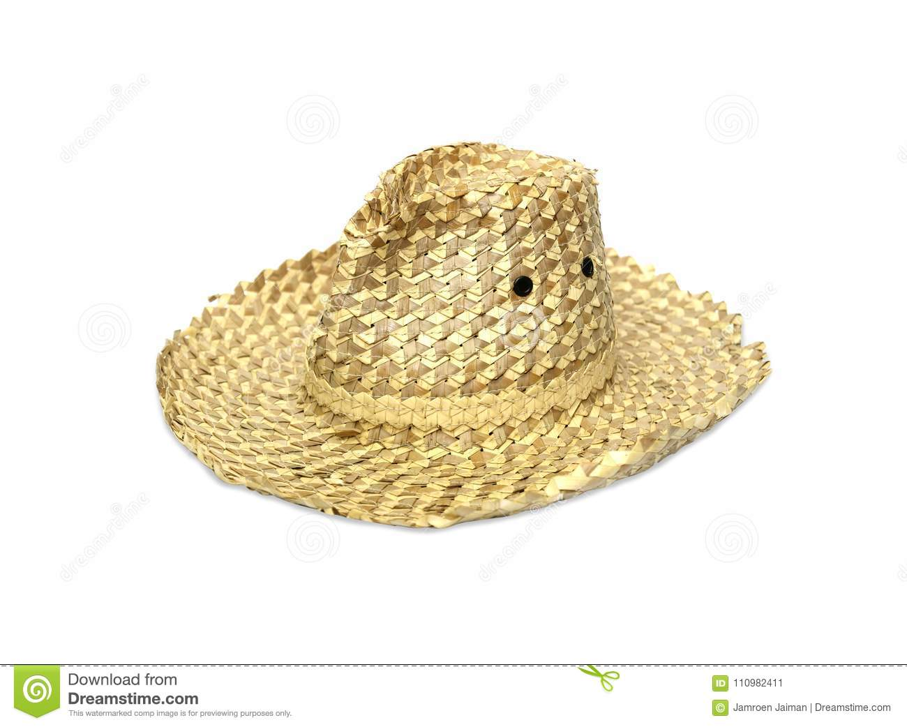 Old Straw Hat On A White Background Stock Image - Image of head ... 4a54843460a8