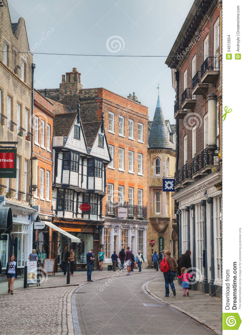 Old street of Cambridge editorial stock image. Image of ...