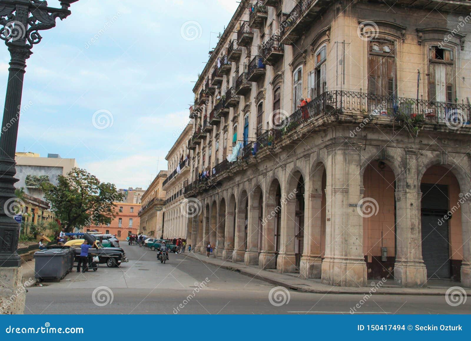 Old street of Havana in Cuba, Caribbeans