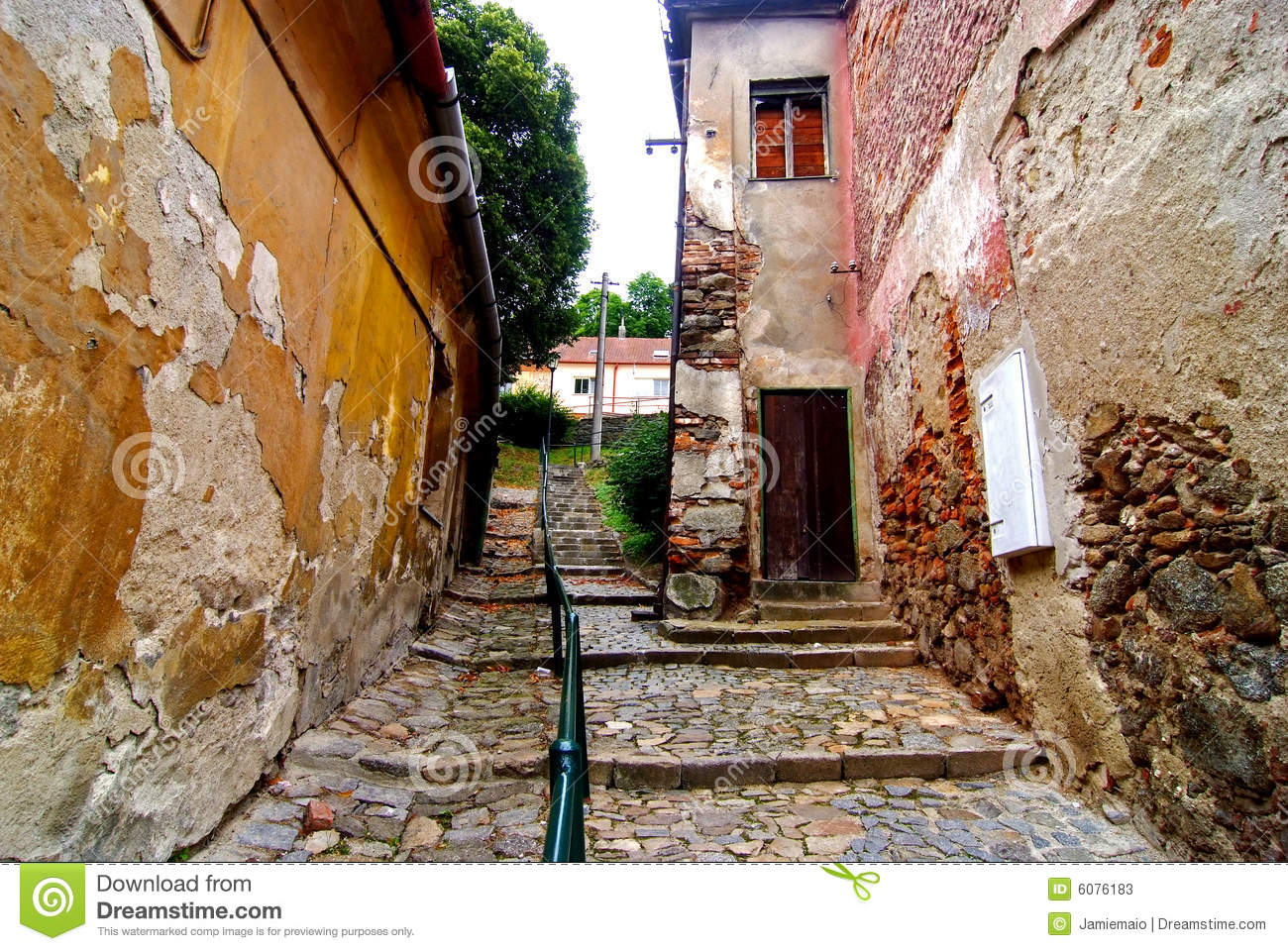 Old Street Of Jewish Quarter, Trebic Stock Image - Image: 6076183