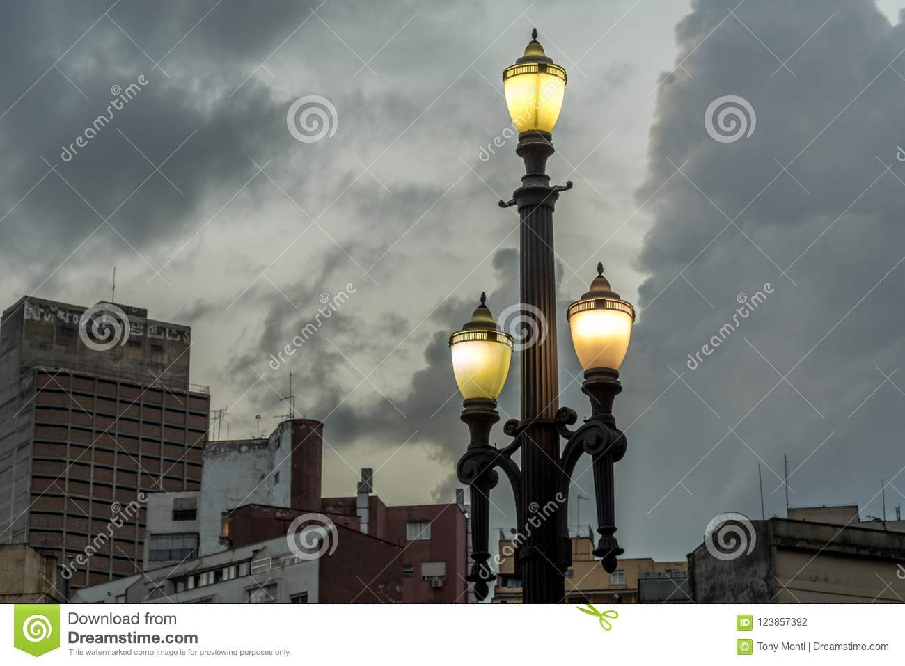 Old street lamp, symbol of the city of Sao Paulo, Brazil, in fro
